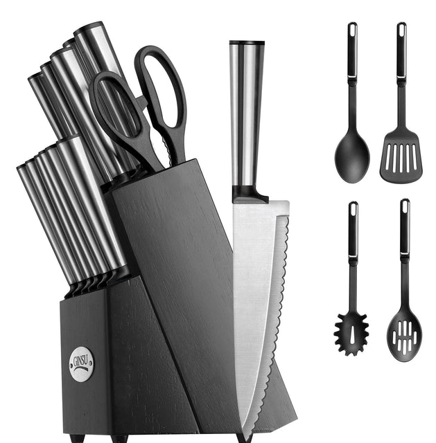 Ginsu Koden Series 18 Piece Stainless Cutlery Set w/ Black Block