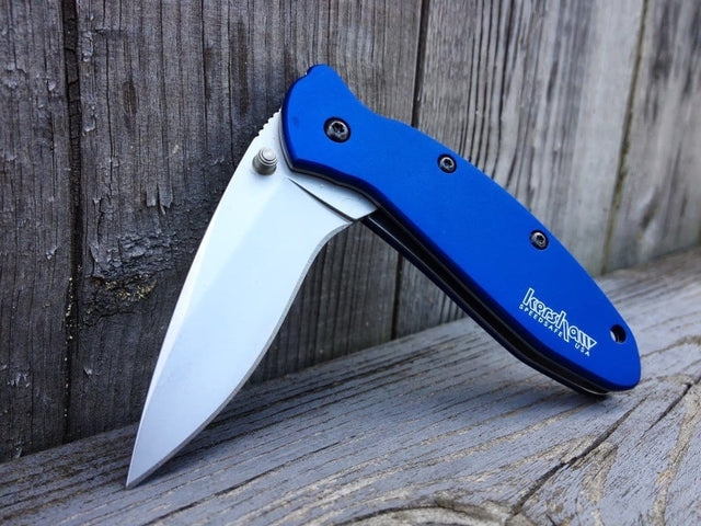 Kershaw Knives K.O. Scallion Folder with Navy Blue Anodized Aluminum Handle