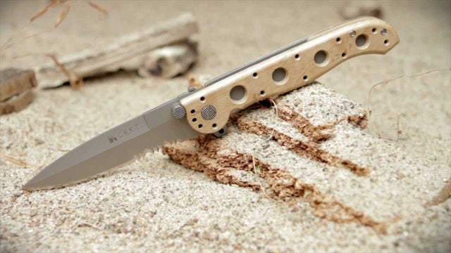 "CRKT M16 3.5"" Pocket Knife (Combo Edge, Desert Tan Zytel Handle)"