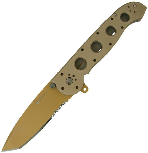 "CRKT Desert Big Dog M16 4"" Pocket Knife (Combo Edge, Desert Tan Aluminum Handle)"
