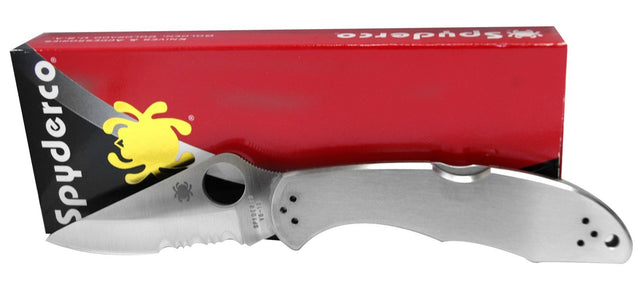 Spyderco Delica 4 Pocket Knife (Stainless Steel Handle, Combo Edge)