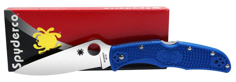 Spyderco Endura 4 Pocket Knife (Blue FRN Handle, Plain Edge)