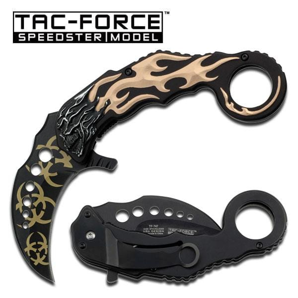 Karambit Style Tan Flaming Skull Handle Assisted Opening Single Blade Pocket Knife