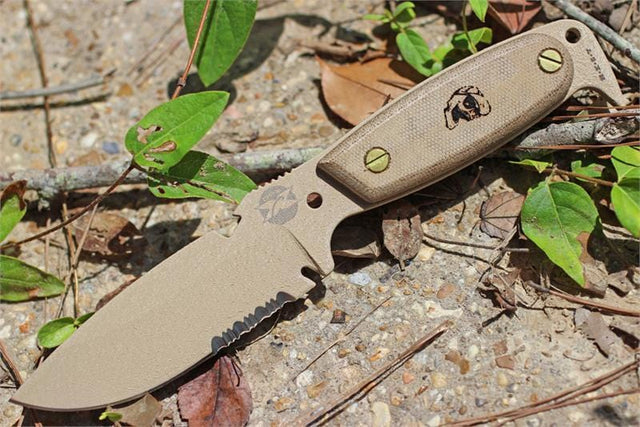 DPX Hest 4 Expedition Desert Tan Partially Serrated Fixed Blade Knife