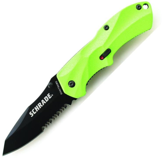 Schrade SCHA7SMGRS Mini M.A.G.I.C. Assisted Opening Liner Lock Folding Knife w/ Partially Serrated Clip Point Blade & Green Aluminum Handle