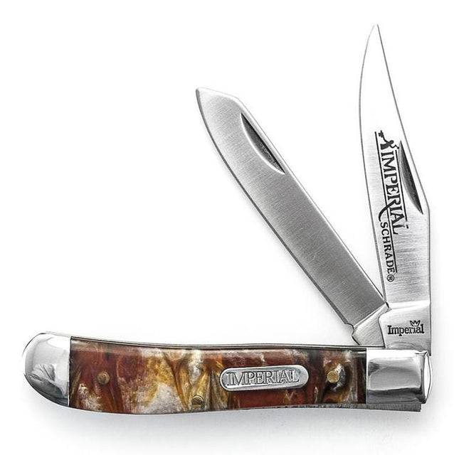 Imperial Schrade IMP15T Amber Swirl Handle Medium Trapper 2-Blade Pocket Knife, Clam Pack