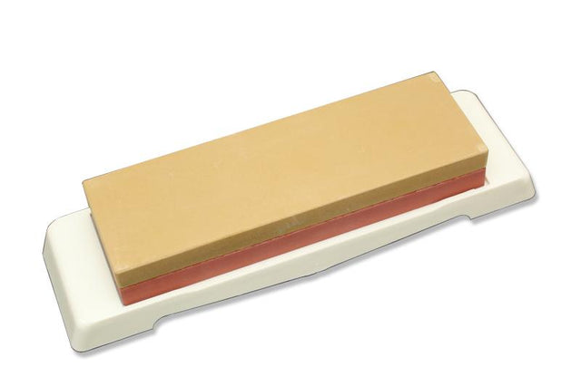Kanetsune Double Sides Ceramic Water Sharpening Stone w/ Non-Skid Mount Base