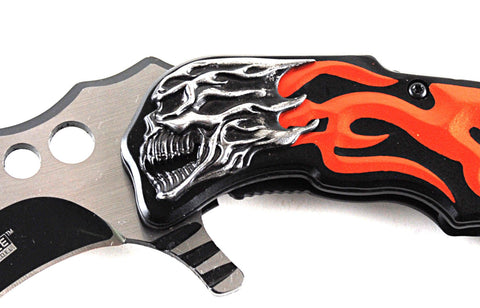 Tac-Force Orange Flaming Skull Spring Assisted Karambit Knife