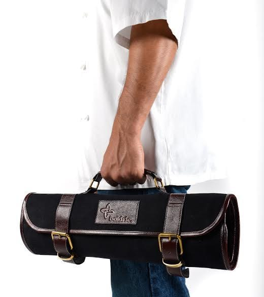 Boldric Canvas Roll Knife Bag with Strap, Black
