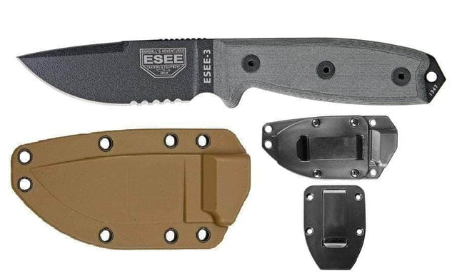ESEE-3 Fixed Blade Knife (Combo Edge, Black/Gray, Brown Sheath)