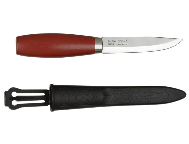 Morakniv Classic No 1, Red Wooden Handle, Carbon Steel, Plain, Sheath