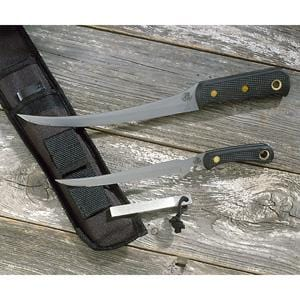 Knives of Alaska Fisherman's Combo with Black Suregrip Handle and Leather S