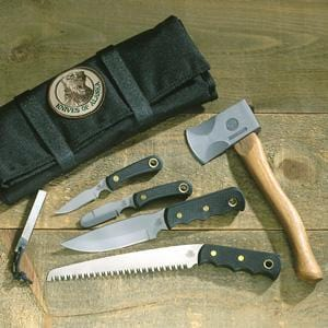 Knives of Alaska Super Pro Pack with Wood Saw, Black Suregrip, Leather Shea