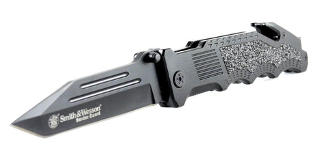 "Smith & Wesson Border Guard 2, 4.4"" Tanto Blade, Aluminum Handle with Trac-Tec Inserts"