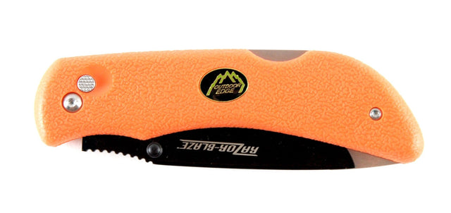 Outdoor Edge Razor-Blaze, Orange Kraton Handle, Plain, w/Nylon Sheath