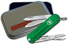 Victorinox Swiss Army Knife Classic SD, Emerald Translucent in Gift Tin