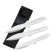 3 Pc Silver Stainless Steel Throwing Knives with Sheath - Knife Depot