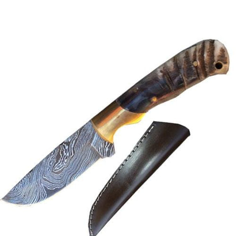 Custom Made Damascus Steel Ram Horn Handle Knife