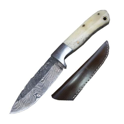Damascus Steel Bone Handle Hunting Knife With Steel Bolster