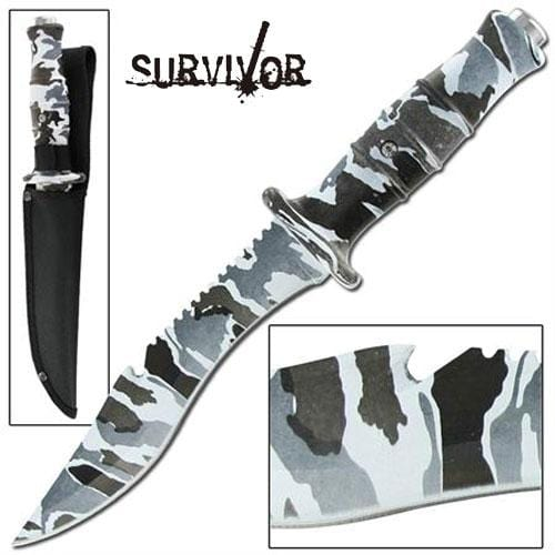 Master Cutlery Jungle Survival Outdoor Hunter Arctic Camo Bowie Knife