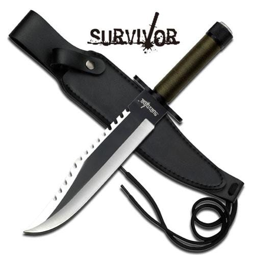 Master Cutlery Survivor Two Tone Fixed Blade Hunting Knife w/ PU Sheath