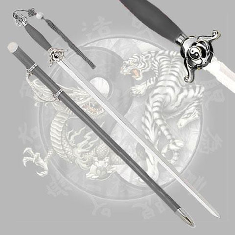 "41.5"" Stainless Steel Classic Tai Chi Sword w/ Black Handle and Scabbard"