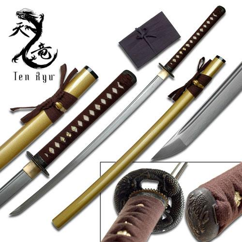 Ten Ryu - Sharp Damascus Steel Katana Sword - Gold Scabbard