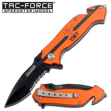 Tac-Force Orange Handle Rescue Assisted Opening Knife - EMT