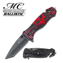Master Cutlery Red  Collection Skull Tanto Spring Assist Knife