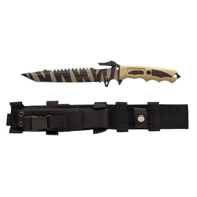 Dark Ops Interceptor 911 E&E Tactical Fixed Blade Knife - Desert Shark