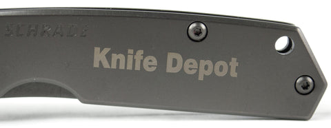 Personalized Schrade SCH303M Mini Frame Lock Folding Knife w/ Plain Drop Point Blade & Steel Handle