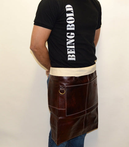 Boldric Bistro Apron, Brown Leather