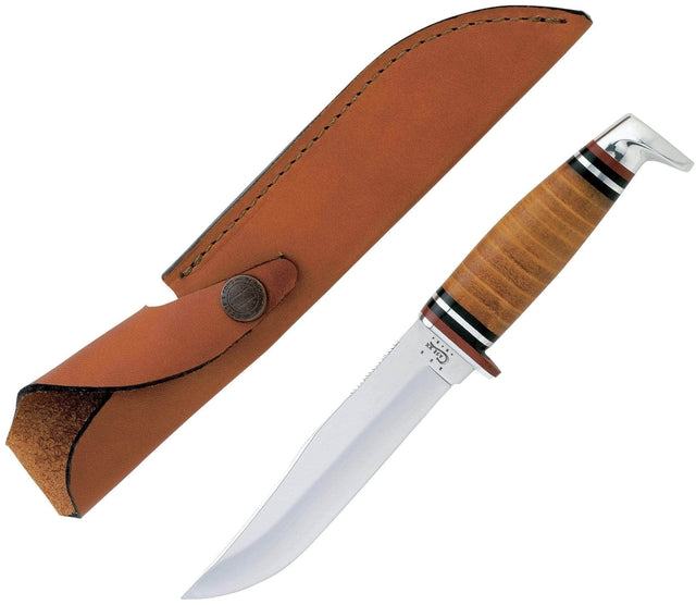 Case Leather Hunter Fixed Blade Knife (365-5 SS) with Leather Sheath