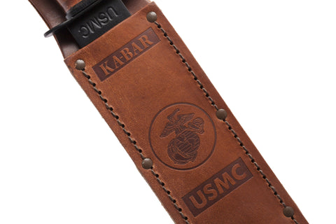 "KA-BAR USMC 7"" Tactical Knife with Brown Leather Sheath, ComboEdge"
