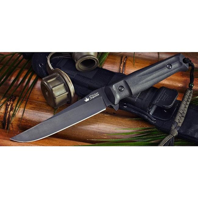 Kizlyar Supreme Croc Aus8-Black Titanium Fixed Blade Knife