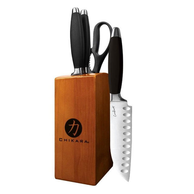 Ginsu 05830 Chikara Comfort Grip  5 -Piece Black Cutlery Set (Toffee Block)