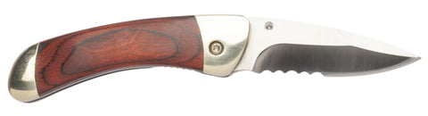 "Parker River ""Classic"" Folding Knife, With Personalized Red Grain Wood Handle"