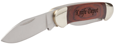 Parker River 2-Blade Knife With Personalized Red Grain Wood Handle