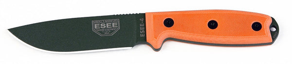 ESEE Plain Green Blade Fixed Blade Knife with Orange G10 Handles