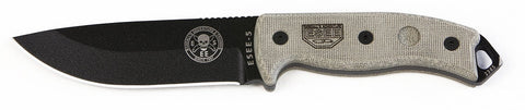 ESEE Plain Black Fixed Blade Knife with Canvas Micarta Handle