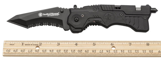 Smith & Wesson Smith & Wesson S&W 1st Response Rescue Tool, All Black Pocket Knife