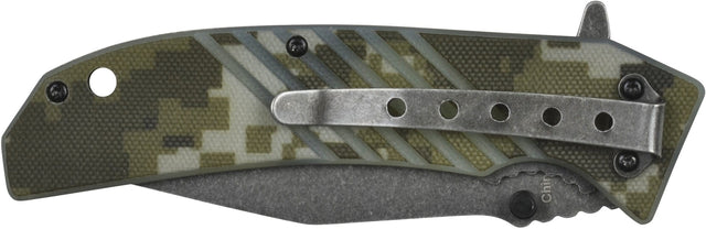 GSI Inc. 017630CM Camo Foxtrot Spring Assisted Single Blade Pocket Knife