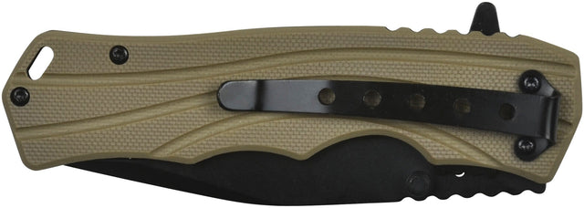 GSI Inc. 010395TN Tan Blackout Ops Spring Assisted Single Blade Pocket Knife