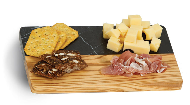 Picnic Plus Noir Marble Cutting Board - Olive Wood/Marble