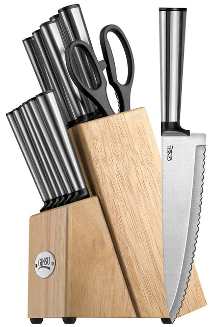 Ginsu Koden Series 14-Piece Natural Block Cutlery Set