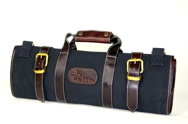 Boldric 17-Pocket Canvas Knife Bag, Black