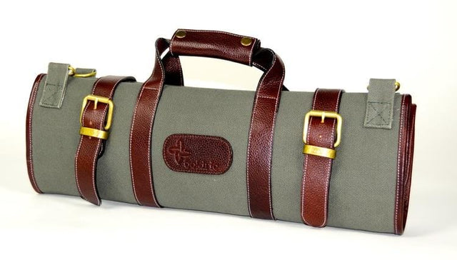 Boldric 17-Pocket Canvas Knife Bag, Green