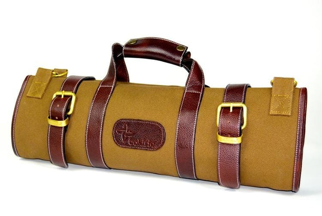 Boldric 17-Pocket Canvas Knife Bag, Khaki