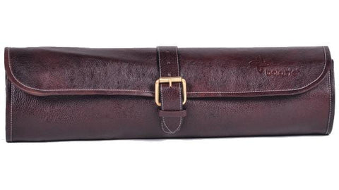 Boldric One Buckle Leather Knife Bag, Brown