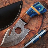 Custom Made Damascus Steel Gut Hook Hunting Skinner Knife w/ Leather Sheath